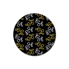Elegance   Yellow Rubber Round Coaster (4 Pack)  by Valentinaart