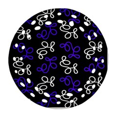 Elegance   Blue Round Filigree Ornament (2side) by Valentinaart