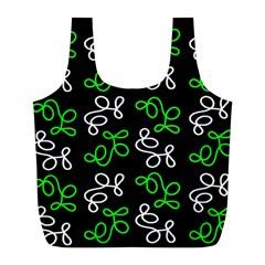 Elegance   Green Full Print Recycle Bags (l)  by Valentinaart