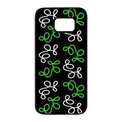 Elegance   Green Samsung Galaxy S7 Edge Black Seamless Case by Valentinaart
