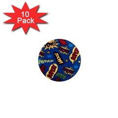 Fabric Comic Words 1  Mini Magnet (10 Pack)  by Onesevenart