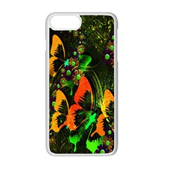 Butterfly Abstract Flowers Apple iPhone 7 Plus White Seamless Case by Zeze