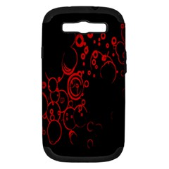 Abstraction Textures Black Red Colors Circles Samsung Galaxy S Iii Hardshell Case (pc+silicone) by AnjaniArt