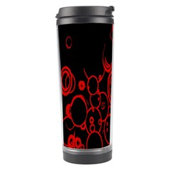 Abstraction Textures Black Red Colors Circles Travel Tumbler by AnjaniArt