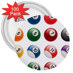 Billiards 3  Buttons (100 Pack)
