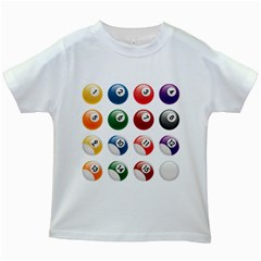 Billiards Kids White T Shirts by AnjaniArt