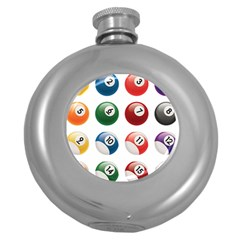 Billiards Round Hip Flask (5 oz) by AnjaniArt