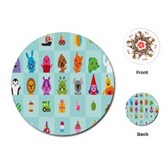 Animals Monster Music Playing Cards (round)  by AnjaniArt