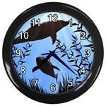 SWIMMING DOLPHINS WALL CLOCK (BLACK)