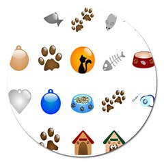 Cat Mouse Dog Magnet 5  (round)