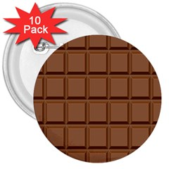 Chocolate 3  Buttons (10 Pack)