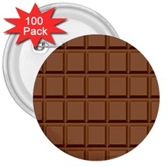 Chocolate 3  Buttons (100 Pack)