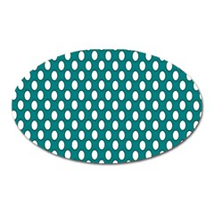 Circular Pattern Blue White Oval Magnet by AnjaniArt