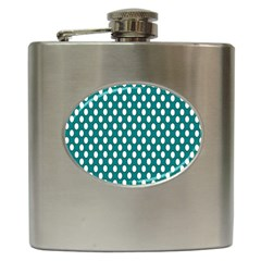 Circular Pattern Blue White Hip Flask (6 Oz) by AnjaniArt