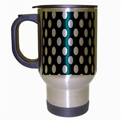 Circular Pattern Blue White Travel Mug (silver Gray) by AnjaniArt