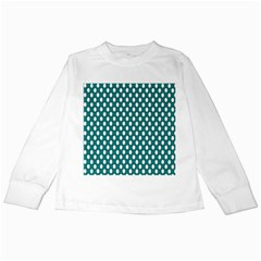 Circular Pattern Blue White Kids Long Sleeve T Shirts by AnjaniArt