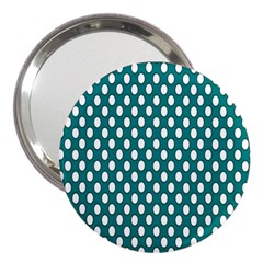 Circular Pattern Blue White 3  Handbag Mirrors by AnjaniArt