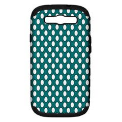 Circular Pattern Blue White Samsung Galaxy S III Hardshell Case (PC+Silicone) by AnjaniArt