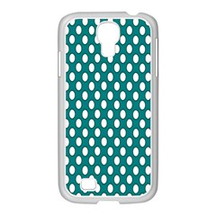 Circular Pattern Blue White Samsung Galaxy S4 I9500/ I9505 Case (white) by AnjaniArt