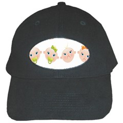 Cute Baby Picture Black Cap by AnjaniArt