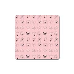 Dog Pink Square Magnet