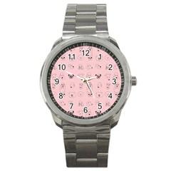 Dog Pink Sport Metal Watch