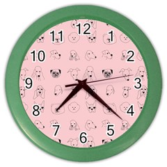 Dog Pink Color Wall Clocks by AnjaniArt