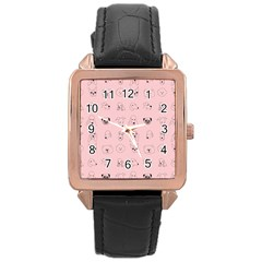 Dog Pink Rose Gold Leather Watch  by AnjaniArt
