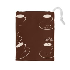 Four Coffee Cups Drawstring Pouches (large)  by AnjaniArt
