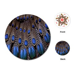 Feathers Peacock Light Playing Cards (round)  by AnjaniArt