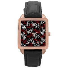 Elegant Red And White Pattern Rose Gold Leather Watch  by Valentinaart