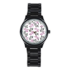 Magenta Elegance  Stainless Steel Round Watch by Valentinaart