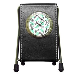 Green Elegance Pen Holder Desk Clocks by Valentinaart