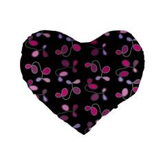Magenta Garden Standard 16  Premium Flano Heart Shape Cushions by Valentinaart