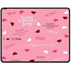 Happy Valentines Day Double Sided Fleece Blanket (medium)  by AnjaniArt