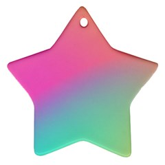 Pink Blue Star Ornament (two Sides)  by AnjaniArt