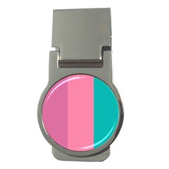 Pink Blue Three Color Money Clips (round)  by AnjaniArt