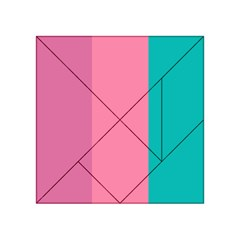 Pink Blue Three Color Acrylic Tangram Puzzle (4  x 4 ) by AnjaniArt