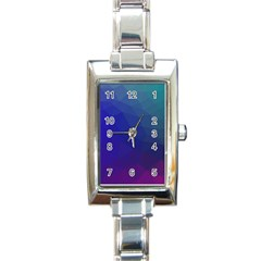 Polyart Dark Blue Purple Pattern Rectangle Italian Charm Watch by AnjaniArt