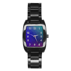 Polyart Dark Blue Purple Pattern Stainless Steel Barrel Watch by AnjaniArt