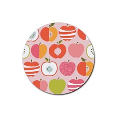 Pink Delicious Organic Canvas Rubber Round Coaster (4 Pack)  by AnjaniArt