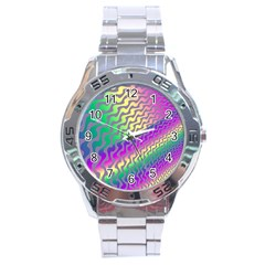 Line Colour Wiggles Stainless Steel Analogue Watch by AnjaniArt