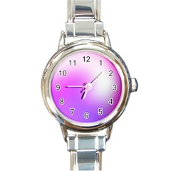 Purple White Background Bright Spots Round Italian Charm Watch by AnjaniArt