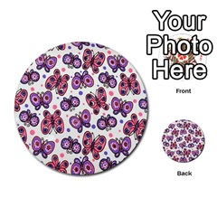 Pink Purple Butterfly Multi Purpose Cards (round)  by AnjaniArt