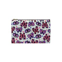 Pink Purple Butterfly Cosmetic Bag (small)  by AnjaniArt