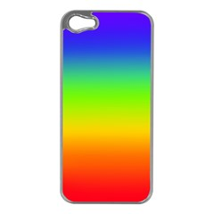 Rainbow Blue Green Pink Orange Apple Iphone 5 Case (silver) by AnjaniArt