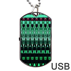 Green Triangle Patterns Dog Tag USB Flash (One Side) by Zeze