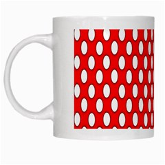 Red Circular Pattern White Mugs by AnjaniArt