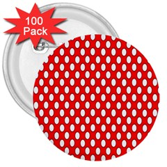 Red Circular Pattern 3  Buttons (100 Pack)  by AnjaniArt