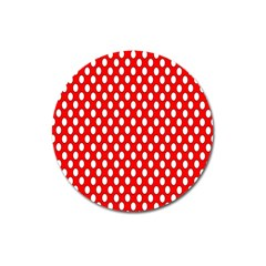 Red Circular Pattern Magnet 3  (round) by AnjaniArt